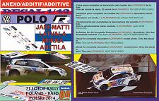 ANEXO DECAL 1/43 VOLKSWAGEN POLO R WRC J-M.LATVALA R.POLAND 2014 5th (12)