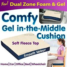 "3"" Pressure Relief Fleece Wheelchair Gel Seat Cushion Car Chair Back Support"