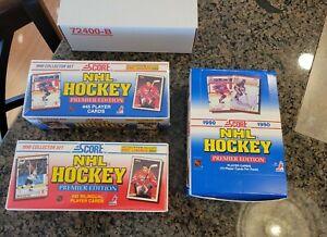 3 SET BOX Lot 1990 SCORE HOCKEY PREMIER EDITION & BILINGUAL SEALED BOX & SET