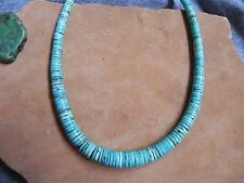 "Graduated Rolled Turquoise & Sterling Silver Necklace 18"" Navajo"