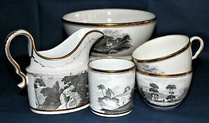 C1800 Part Porcelain Tea Service in Schwarzlot or encore de chine style,10 items