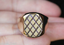 Criss Cross Fashion Ring Gold Men's Usa New 14K Size10 Mens Flat Square Top