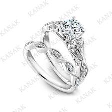 1.25 ct Diamond 10k White Gold Bridal Set Vintage Engagement with Band Ring