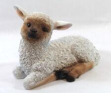 Dekofigur Schaf liegend Lamm, Lämmchen Tierfigur, Türdeko Garten Weiß Braun