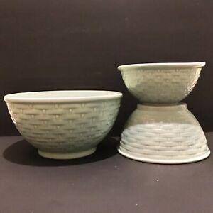 3 Weller Nesting Graduated Mixing Bowls Celadon Green Pierre Basketweave AS IS