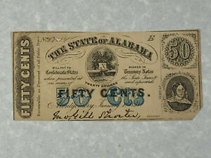 1863 The State of Alabama 50 Cents - Civil War Fractional Currency *