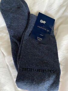 Vintage burberry sock division blue marle large cotton men's socks England new