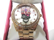 Betsy Johnson Black  Skeleton King Ladies Watch Gold Band BJ00249-808X NWT $69