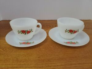 4 pc Vtg Anchor Hocking Fire King Coffee Cup & Saucer Plate w/ Red Roses Flowers