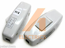 2x 6A inline light switch for table desk lamp cord 3 core torpedo rocker white
