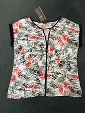 Liz Jordan Size 14. Modern Black White Orange Grey Slim Print Cuff-sleeve Top