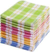 "Kitchen Dish Cloths 12pcs 14""x16"" 100% Cotton Windowpane Dishcloths Dish Towels"