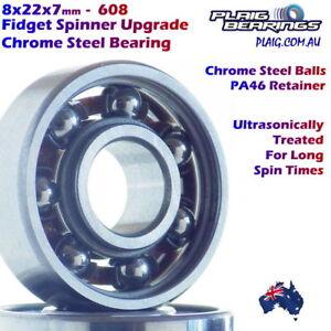 Fidget Spinner UPGRADE Bearings Chrome Steel LONG SPINNING 608 8x22x7mm