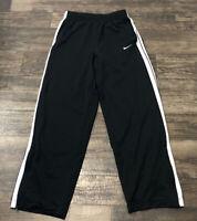 Vintage Nike Basketball Men's Medium Black White Striped Track Pants Athletic