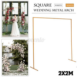 2M Wedding Gold White Round Arch Square Backdrop Flower Display Stand Background