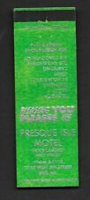 Matchbook Cover Erie Pa Presque isle Motel Radio, Carpeting, Tub and Shower *667