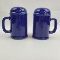 VTG Cobalt Blue Ceramic Handled Mug Style Salt And Pepper Shakers Made In Japan