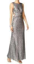 Betsy & Adam ~ Silver Sequins Cutout Sides Twist Bodice Formal Gown 8 NEW $279