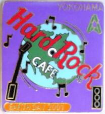Hard Rock Cafe YOKOHAMA 2001 EARTH DAY PIN Purple Turntable Globe HR Logo #10589