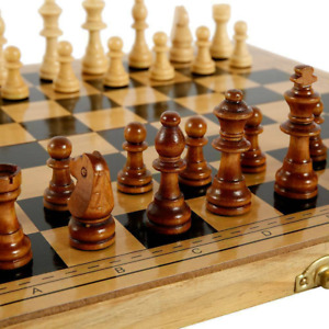 Large Chess Wooden Set Folding Chessboard Backgammon Draughts Wood Board Game PA