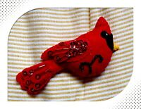Hand made Song Bird Beaded Felt Ornaments Cardinale Christmas Ornament