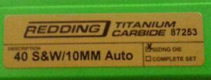 87253 REDDING TITANIUM CARBIDE SIZING DIE - 40 S&W / 10MM AUTO - NEW - FREE SHIP