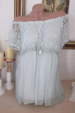 Italy verano blusa túnica punta hippie camisa oversize Boho seda 36 38 40