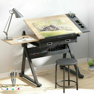 Adjustable Drafting Table Drawing Art & Craft PC Wooden Board Desk w/ Stool Set