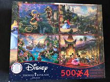 NIB Disney Thomas Kinkade 4 in 1 Jigsaw Puzzle 500 piece Mickey Peter Pan Tangle
