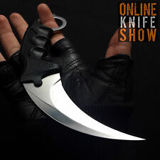 Straight Edge Razor Fixed Blade Combat Cleaver Hunting Knife Karambit Silver NEW