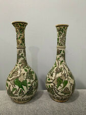 Antique Middle Eastern Persian or Iznik Pottery Pair Bottle Form Vases Birds Dec