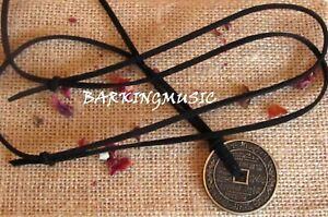 FENG SHUI LUCKY COIN PENDANT NECKLACE ON BLACK SUEDE CORD {FREE GIFT BOX}