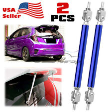 """Blue Front/Rear 6""""-8"""" Adjustable Frame Bumper Lip Spoiler Strut Rod Support Bar"""