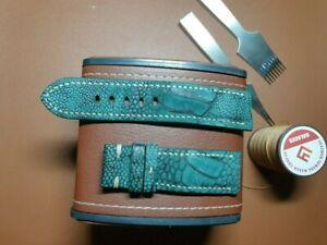 24/22mm Genuine-NUBUCK OSTRICH-Leg-LEATHER-SKIN-WATCH-STRAP-BAND