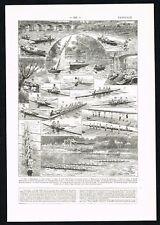 1922 Antique Print - Canoeing Paddling Sailing Sport - Larousse Book Plate