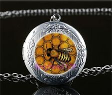 Bee Honeycomb Cabochon LOCKET Pendant Silver Chain Necklace USA Ship #182