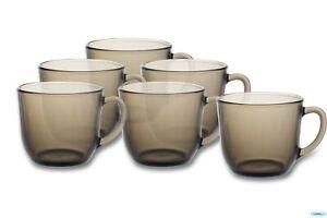 Glass Mugs Smoke Mug 6pc Brown Coffee Mugs Tea Cups Latte Hot Drink Glasses
