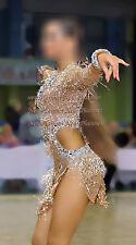 L3947 bead fringes Ballroom latin swing rumba samba dance dress us 8 sleeve