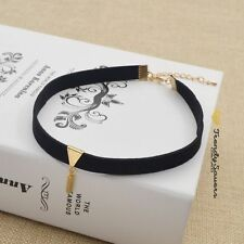 Trendy Black Velvet Chunky Collar Necklaces Swede Women Choker Bib Statement