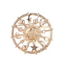 Sun Moon Star Brooch Pin Gold Crescent Lapel Pin Fashion Jewelry Breastpin Gift