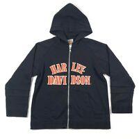 Harley Davidson Womens S Cotton Blend Full Zip Hoodie Sweatshirt Orange Black
