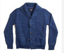$595 RRL Ralph Lauren Vintage Indigo Dyed Cotton Linen Cardigan Sweater-MEN-XL