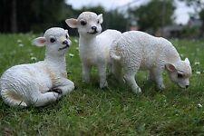 Schafe 3 Set Weiß Tierfigur Tier Dekofigur Gartenfigur Ziege Lämmchen Bauernhof