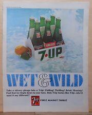 1967 magazine ad for 7-Up soda - Wet & Wild, King Size bottles six pack