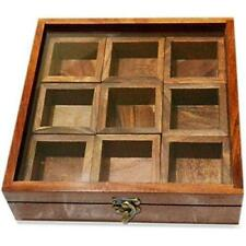 sheesham wood spices box with 9 detachable squares for kitchen use best price