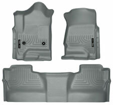 Husky Liners Front & 2nd Seat Floor Liners (Grey) For 14-17 Chevy/GMC Crew Cab