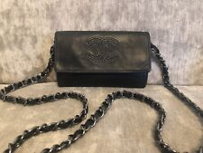 100% Authentic Chanel Grey Chain CC Small Purse Wallet On Cross Body Chain