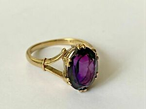 2.00 CT Oval Cut Amethyst Solitaire Engagement Ring 14K Yellow Gold Over