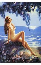 Pin Up Girl Poster 11x17  beautiful nude ocean sea side flowers in moonlight