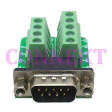 DB9 D-SUB VGA DE9 Male Adapter 9Pin signals Terminal Breakout Board ROHS 2 row